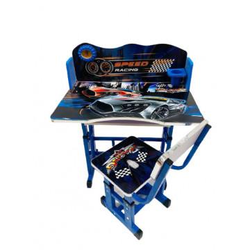 Birou cu scaun pentru copii, reglabile, cadru metalic si lemn,car
