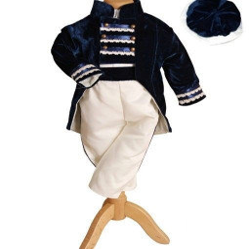 Costum de botez Print,set 4 piese bleumarin/alb, 0-3 luni