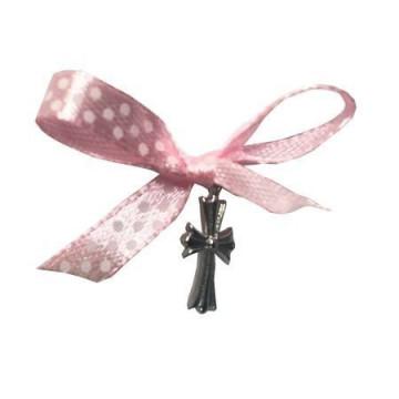 Cruciulite de botez, 20 buc, fundita roz
