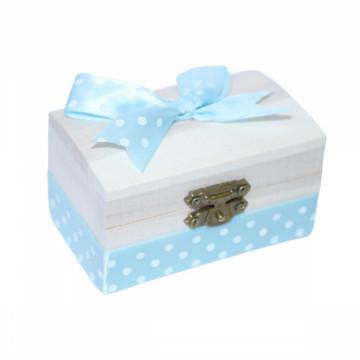 Cutiuta din lemn pentru suvita sau amintiri, bleu cu buline