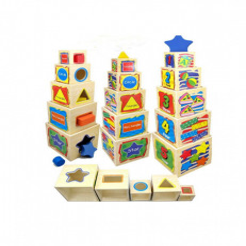 Joc Montessori Educativ Turnul 5 Din Lemn