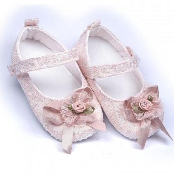 Pantofiori eleganti , pentru botez, fete, roz pal