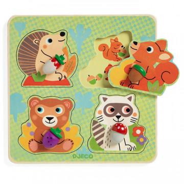 Puzzle din lemn Animalele din padure Djeco