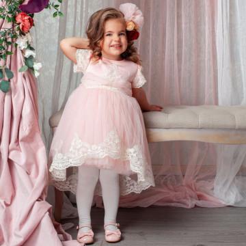 Rochita de botezCaroline, roz, 3 luni-4 ani
