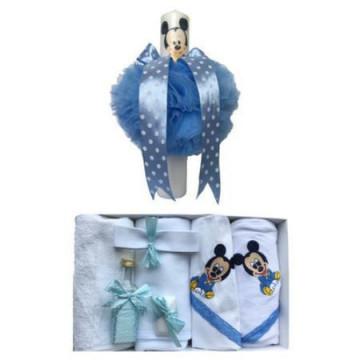 Set Botez ,Trusou 7 pcs. brodat Baby Mickey Mouse ,Lumanare Baby Mickey Mouse,Alb/ Bleu
