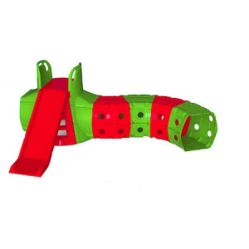 Tobogan cu tunel de joaca MyKids Verde-Rosu 01470/3