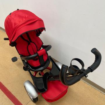 Tricicleta cu far luminos si sunete, Maner reversibil, 4499 - Rosu