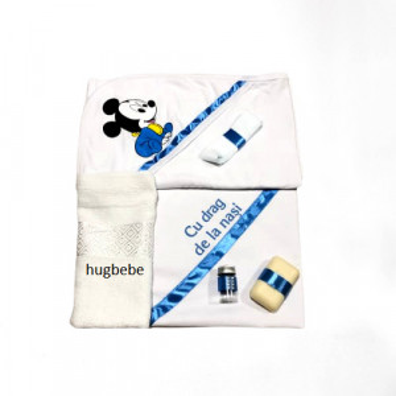 Trusou de botez 6 piese Mickey albastru