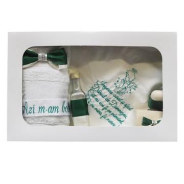 Trusou pentru botez, 7 piese, dantela,verde inchis/alb