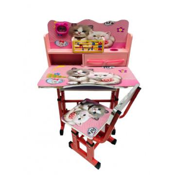 Birou cu scaun pentru copii, reglabile, cadru metalic si lemn,pisica