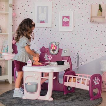 Centru de ingrijire pentru papusi Smoby Baby Nurse Doll`s Play Center mov cu 23 accesorii
