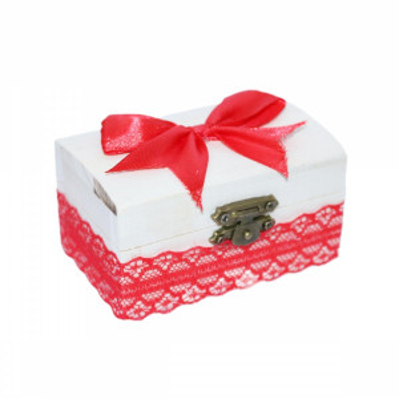 Cutiuta din lemn pentru suvita sau amintiri, rosu dantela