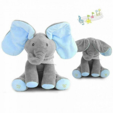 Elefantel CUCU BAU, muzical, ce misca urechile,albastru