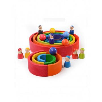 Joc din lemn Montessori, set 6 bile Curcubeu