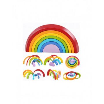 Joc lemn Montessori Curcubeu 7 piese Rainbow