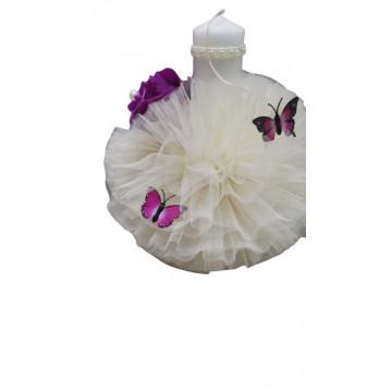 Lumanare de botez ivoirecu trandafiri, cu ornamente florale, hug 103
