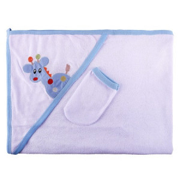 Prosop bebe cu broderie bleu, 110*72 cm