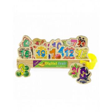 Set 23 cifre magnetice din lemn, cu ilustratii grafice