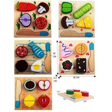Set 5 Puzzle din lemn de taiat - Pofta buna!