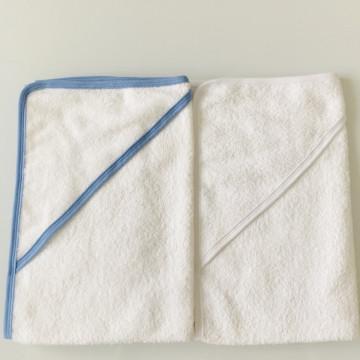 Set de 2 prosoape bebe,alb/bleu broderie la cerere, 80*90 cm