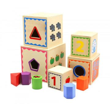 Sortator Montessori din lemn 5 cuburi cifre si forme