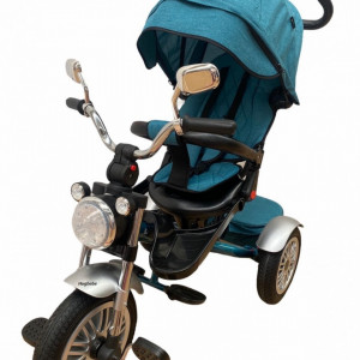 Tricicleta cu far luminos si sunete, Maner reversibil, 4499 - Turcoaz