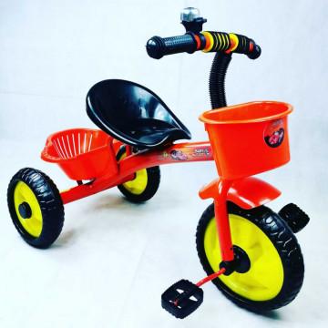 Tricicleta cu pedale, aliaj metalic, 2 cosuri, ghidon ajustabil,Cars,rosu,3-5 ani
