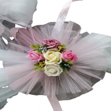 Aranjament cristelnita cu flori artificiale,roz