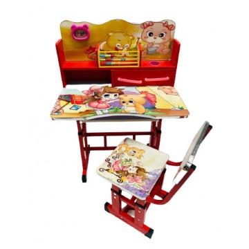 Birou cu scaun pentru copii, reglabile, cadru metalic si lemn,urs