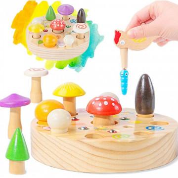 Joc lemn pescuit magnetic Mushroom Picking Toys