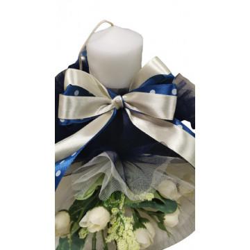 Lumanare de botez bleumarin/crem, cu ornamente florale, hug 101
