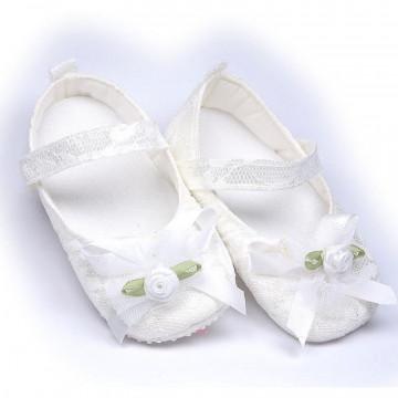 Pantofiori eleganti , pentru botez, fete, alb sidef