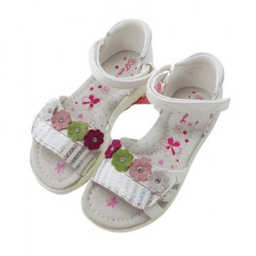 Sandale din piele pentru fete, cu barete reglabile, roz/alb Floricele
