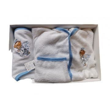 Set de baie 3 piese, halat, prosop cu capison si manusa,alb/bleu