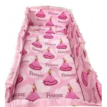 Set de pat, bebelusi, bumbac-sifon, 7 piese, Printese roz