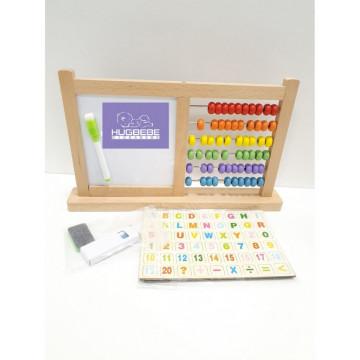 Tabla din lemn multifunctionala, 4 in 1, cu doua fete si numaratoare