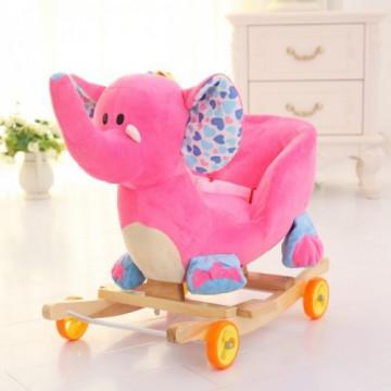 Balansoar Muzical Copii tip Sanie - Elefant Roz