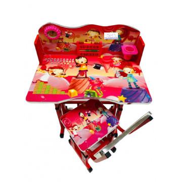 Birou cu scaun pentru copii, reglabile, cadru metalic si lemn,roz