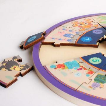 Ceas tip puzzle din lemn cu cifre si animale