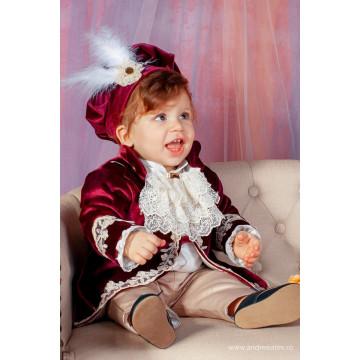 Costum de botez Fabrizzio bordo regal, 5 piese, de la 2-4 luni , la 9-12 luni