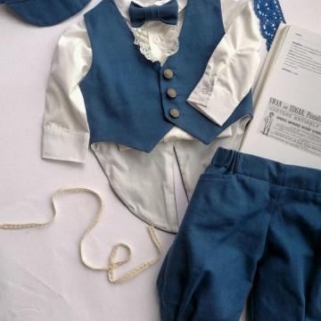 Costum elegant Carol de baieti,marimi 2-4,5-8 luni,5 piese,bleumarin.