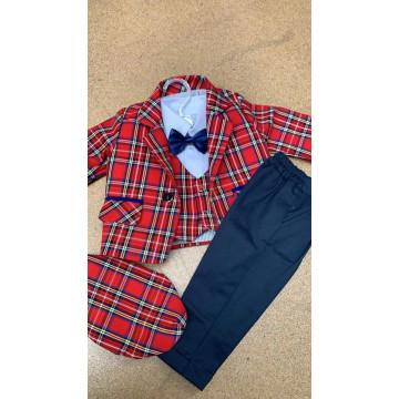 Costum elegant de baieti,marimi 3,6,9,12luni,6 piese,rosu
