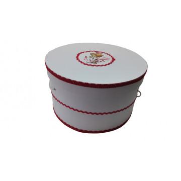 Cutie trusou pentru botez,rotunda,alb-rosu ,ingeras