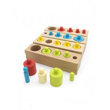 Joc Montessori de Invatare, 4 seturi cilindri color din lemn