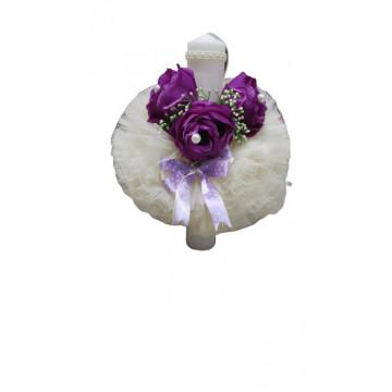 Lumanare de botez ivoirecu trandafiri, cu ornamente florale, hug 103, en gross