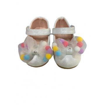 Pantofi fete,alb cu fundita