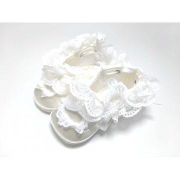 Papucei eleganti bebe, satin alb