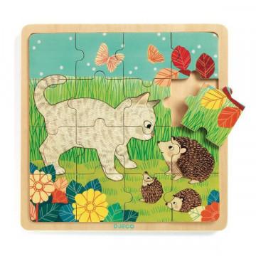 Puzzle lemn copii Garden Djeco