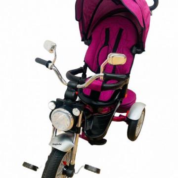 Tricicleta cu far luminos si sunete, Maner reversibil, 4499 -Mov