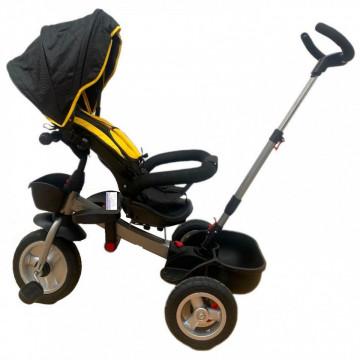 Tricicleta HUG S180 cu scaun reversibil, pozitie de somn, NEGRU CU GALBEN